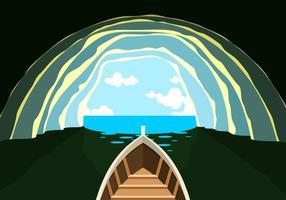 Barca nella caverna vettoriali gratis
