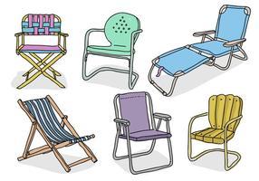 Raccolta disegnata a mano dell'illustrazione di vettore di scarabocchio della sedia di prato inglese