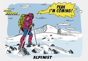 Illustrazione disegnata a mano di vettore comica rampicante del picco di montagna dell'alpinista