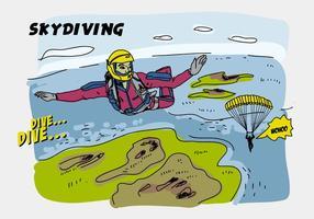 Illustrazione disegnata a mano di vettore comica di paracadutismo
