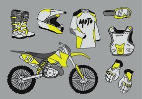 Illustrazione di vettore di Doodle del pacchetto del dispositivo d'avviamento di motocross