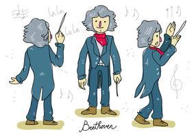 Illustrazione disegnata a mano di vettore del conduttore di musica di Ludwig van Beethoven