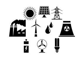 Vettore dell'icona della siluetta di industria elettrica