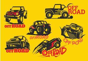 Set Off-road Suv Car su sfondo giallo vettore