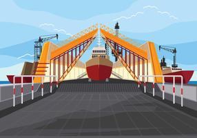 Illustrazione del cantiere navale sul lavoro e nave attraccante vettore