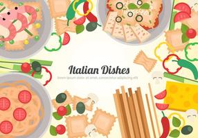 Vettore di piatti italiani