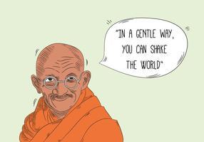 Gandhi Character With Speech Bubble E Citazione