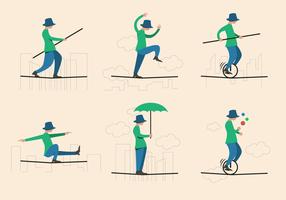 vettore di acrobat della corda per funamboli