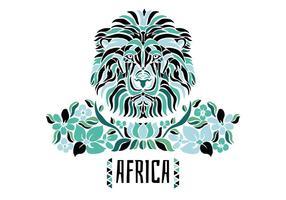Leone africano tribale con foglie e fiori verdi vettore
