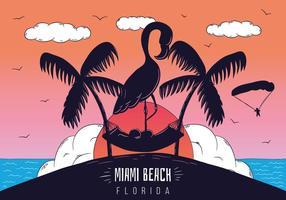 tramonto della scena della spiaggia di Miami con la siluetta del fenicottero vettore
