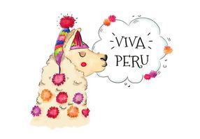 Vettore variopinto del lama peruviano