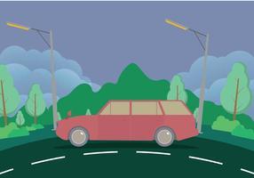 Vecchia station wagon con illustrazione di montagne vettore