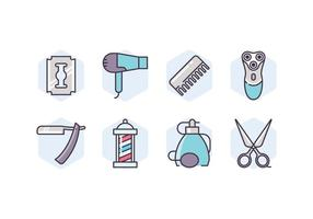 Set di icone di forniture da barbiere vettore