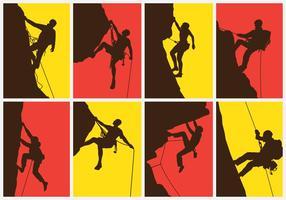 Insieme dell'illustrazione dello scalatore di montagna vettore