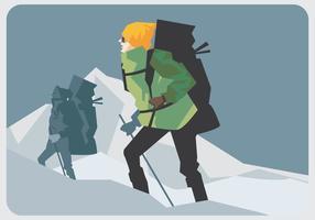 Alpinista che cammina vettore