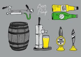 Illustrazione disegnata a mano di vettore della raccolta della pompa della birra