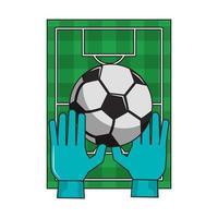 campo da calcio con guanti e cartone animato palla