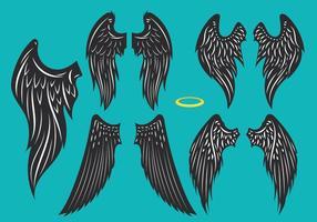 Imposta l'illustrazione di Os Black Wings vettore
