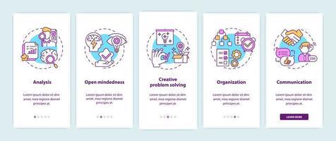 tipi di pensiero creativo onboarding nella schermata della pagina dell'app mobile