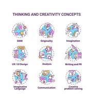 set di icone di concetto di pensiero e creatività