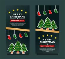 buon natale e felice anno nuovo modello di banner vettore