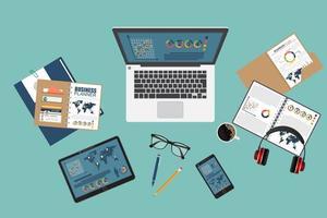 sfondo di concetto di auditing con oggetti per ufficio