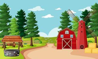 scena di fattoria vuota in stile cartone animato