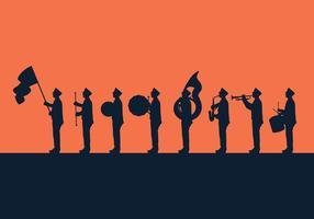 silhouette di parata di bande musicali vettore