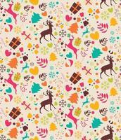 seamless con alberi di Natale, renne, scatole regalo vettore