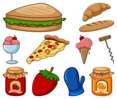 grande insieme di cibo diverso e altri oggetti su sfondo bianco