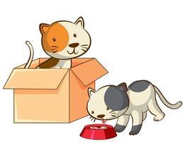immagine isolata di due gattini vettore
