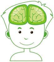 simbolo isolato umano con contorno del cervello