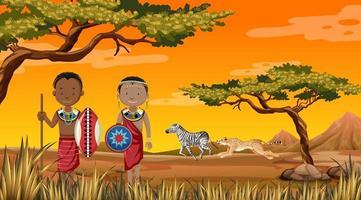 persone etniche delle tribù africane in abiti tradizionali sullo sfondo della natura vettore