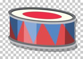 un tamburo in stile cartone animato isolato su sfondo trasparente