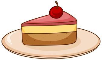 un pezzo di torta di fragole sul piatto vettore
