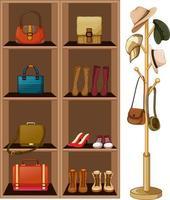 borse e scarpe sugli scaffali con appendiabiti su sfondo bianco vettore