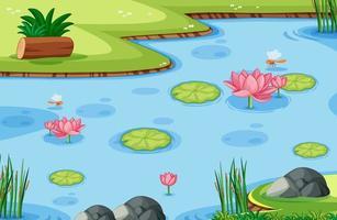 modello di gioco con foglia di loto sulla palude sullo sfondo della foresta
