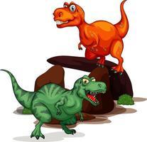 due dinosauri personaggio dei cartoni animati isolato su bianco bcakground vettore