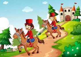 soldato a cavallo con stile cartone animato castello fantasy vettore