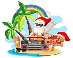 Babbo Natale sull'isola spiaggia per Natale estivo vettore