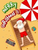 Babbo Natale che prende il bagno di sole al tema estivo della spiaggia vettore