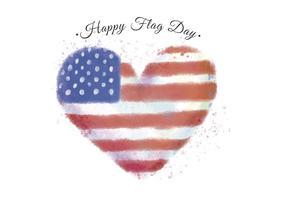 Illustrazione dell'acquerello del cuore con il colore della bandiera americana da utilizzare in Flag Day. vettore