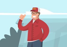 Ragazzo in un'illustrazione del cappello del camionista