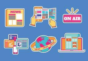 Comunicato stampa icone vettoriali piatta