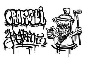 personaggio dei cartoni animati dei graffiti vettore