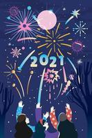 festa di fuochi d'artificio con gli amici
