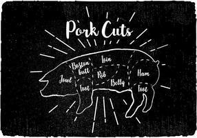Vettore del diagramma dei tagli di maiale