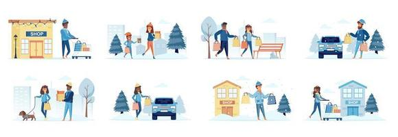 pacchetto dello shopping della stagione invernale di scene con personaggi di persone