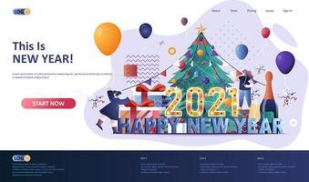 felice anno nuovo 2021 modello di pagina di destinazione piatta vettore