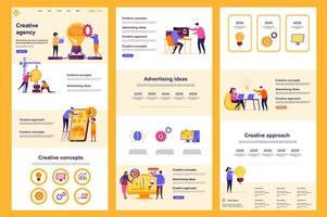 pagina di destinazione piatta dell'agenzia creativa vettore